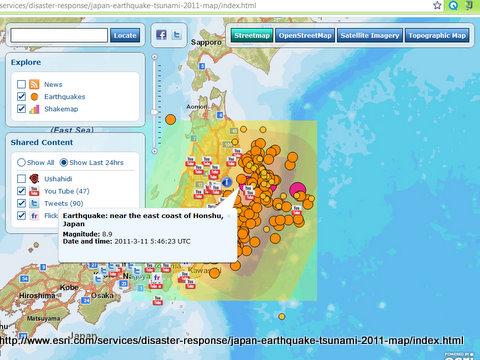 Peta interaktif bencana gempa dan tsunami di Jepang