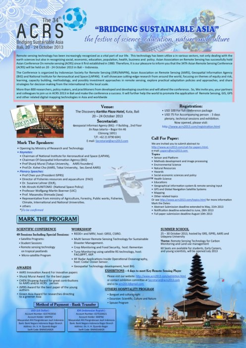 Asian Conference of Remote Sensing 2013, Bali, Indonesia.